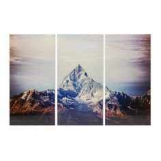 An impressively attention-commanding addition to any decor, the marvellous Matterhorn triptych contrasts soothing symmetry and impassive natural grandeur for a dynamic wall piece. Printed foil on tempered glass. Kare Design, Decoration Chic, Glass Artwork, Wall Art Designs, One Pic, Decorative Accessories, How To Find Out, House, Modern