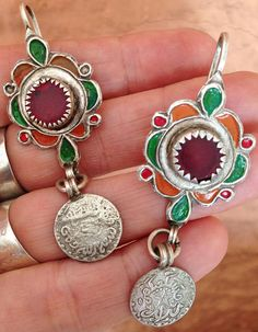 Silver Berber Earrings with Red Glass & Silver Coin from South Morocco Old Silver Tuareg Earrings with Red/Black/Silver Beads Niger Collected by Ineke Hemminga