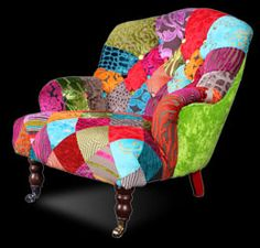 Patchwork chair from Ginny Avison Designs Ltd Funky Chairs, Colorful Chairs, Cool Chairs, Recycled Furniture, Cool Furniture, Nursing Chair Uk, Patchwork Chair, Wrought Iron Patio Chairs, Accent Chairs For Living Room