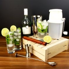 The bar Mojito kit contains all the equipment you need to start creating your very own delicious version of the famous Cuban cocktail. Whether you like it made the traditional way or quickly shaken, this kit has it sorted. Mojito Cocktail, Cocktail Shaker, Cocktail Making Kit, Famous Cubans, Home Brewing, Cocktails, Cool Stuff, Gin, Spoon