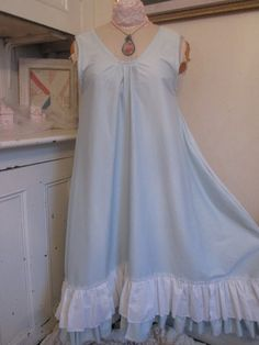 """Tina Givens pattern """"Annabelle Slip"""" Finished with a gorgeous medium weight pale blue cotton fabric with blue and White ruffle. I cute the pattern too big so I got creative like Tina says to do and pleated the front middle bodice to make it fit a little better : ) I love this dress and will be making more!"""