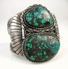Navajo spiderweb turquoise and sterling cuff