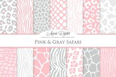Pink & Grey Animal Prints Background by Avenie Digital on @creativemarket