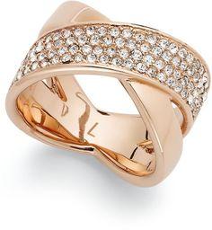 Michael Kors Gold Rose Goldtone Quartz Pave Crisscross Band Ring