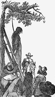 Execution of Ann Hibbins on Boston Common, on charges of witchcraft, June 19, 1656. Sketch by F.T. Merril, 1886