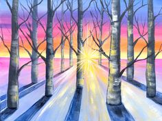 "Sunlight Through Trees has never been so much fun to paint!! Come Join me on Youtube for ""Awakening"" where I will show you how much fun you can have during art time.  https://www.youtube.com/watch?v=zkBrUOzwceg Learn to paint Sunlight Through Winter Birch Trees in acrylic paint on canvas for beginners. I will show you how to paint these cool Sunbeams, give you tips on Sunrise. Also I am going to demo How to paint Cool birch trees in one point perspective with easy branches.  Beginners learn…"