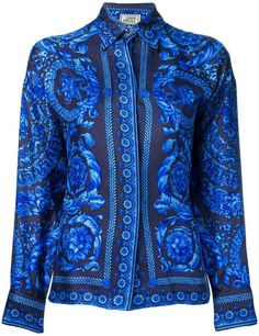 Versace Pre-Owned 1991 Baroque print shirt - Blue Mens Tracksuit Tops, African Tops, Mens Shirts Online, Track Suit Men, Comfortable Sneakers, Peasant Tops, African Fashion, African Style, Printed Shirts