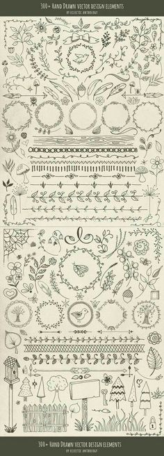 "Over 300 ""Woodland Whimsy"" Hand Drawn Vector Design Elements! Flourishes, curls,… Over 300 ""Woodland Whimsy"" Hand Drawn Vector Design Elements! Drawing Hands, Bullet Journal Inspiration, Journal Ideas, Journal Design, Journal Art, Vector Design, Web Design, Graphic Design, Layout Design"