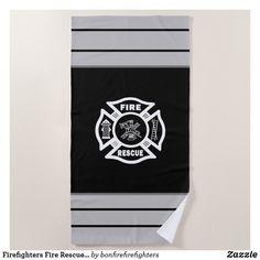 Firefighters Fire Rescue Beach Towel Female Firefighter, Firefighter Gifts, Custom Beach Towels, Pool Days, Fire Dept, Firefighters, Fire Emblem, Beach Day, Outdoor Activities