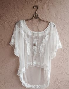 sheer gypsy beach bohemian peasant lace blouse