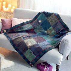 Un plaid en patchwork de tweed