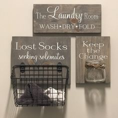 This item is unavailable Laundry Room Combo Set Lost Socks Seeking Solemates wood Laundry Room Quotes, Laundry Room Signs, Laundry Room Storage, Garage Laundry, Laundry Room Art, Organized Laundry Rooms, Laundry Room Small, Laundry Basket Shelves, Laundry Room Curtains