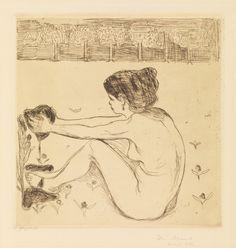 Edvard Munch, 1896 (plate) / etter 1902 (trykk). Etsning og koldnål på papir, The woman and the heart