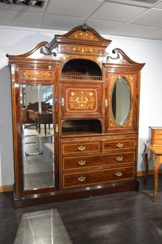 Exceptional Quality Mahogany Inlaid Late Victorian Period Wardrobe By S.H Jewell