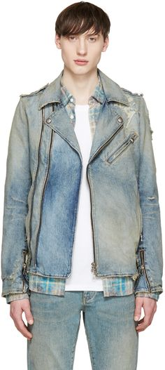 289eba5fe4ee Balmain - Blue Denim Biker Jacket Denim Biker Jacket