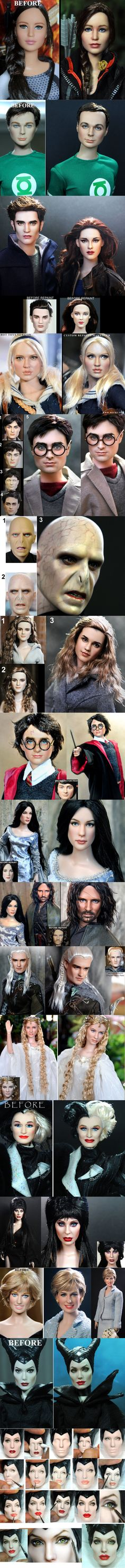 Noel Cruz repaints celebrity dolls to make them look more realistic. He is one of the most versatile & distinguished repaint artists in the doll community. He is most recognized for his character & celebrity based dolls due to their uncanny resemblance to the people they portray. See more of his work here http://www.ncruz.com