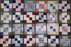 Wonderful Set of 24 Antique c1880s QUILT Blocks Make Small Quilt