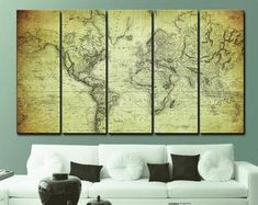 Large Canvas Prints Modern Wall Art for Home & by WALLARTSDECOR World Map Canvas, Large Canvas Prints, Modern Wall Art, Home Art, Home Office, Furniture, Home Decor, Decoration Home, Room Decor