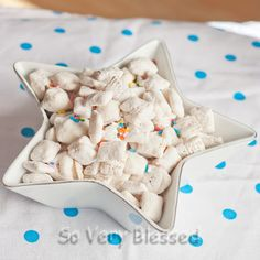 Cake Batter Puppy Chow. I am all about cake batter anything. Nice twist on the original recipe.