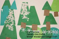 make a winter collage craft with January craft supplies from the Kids Craft Club.  A great craft idea for kids to do by themselves or in play groups or preschool.