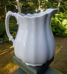 Antique White Ironstone Melon Ribbed Pitcher by 4HollyLaneAntiques, $152.00