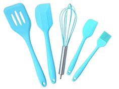 Great Cooking Utensils Set for the Kitchen, Silicone Set Includes Whisk, Basting Brush, Slotted Turner, Large Spatula and Small Spatula. Premium Silicone Kitchen Tools Set, ,