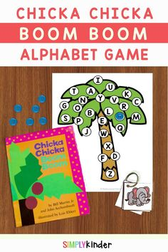 Our fun Chicka Chicka Boom Boom activities include a fun cover and find game that practices letter identification and beginning sounds. Easy to prep and 100% free. Perfect for Kindergarten literacy centers or homeschoolers! Preschool Learning Activities, Reading Activities, Kindergarten Activities, Teaching Ideas, Learning The Alphabet, Alphabet Activities, Teaching Calendar, Abc Phonics, Chicka Chicka Boom Boom