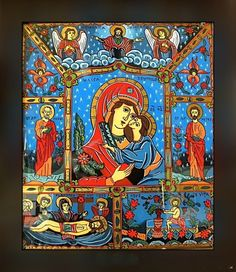 Icoana pe sticla  -  Praznicar  - autor: Florian Colea - Targoviste, Romania Religious Icons, Religious Art, Orthodox Icons, Ikon, Madonna, Folk Art, My Arts, Glass, Crafts