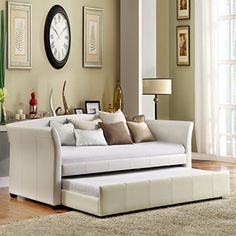 Modern, elegant daybed saves space and is the perfect extra bed when you need it. TRIBECCA HOME Deco White Faux Leather Modern Daybed with Trundle Bedroom Color Schemes, Bedroom Colors, Leather Daybed, Modern Daybed, Modern Sofa, Sala Grande, Guest Room Office, Design Moderne, White Vinyl
