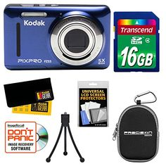 Introducing Kodak PixPro Friendly Zoom FZ53 Digital Camera Blue with 16GB Card  Case  Tripod  Kit. Great Product and follow us to get more updates!