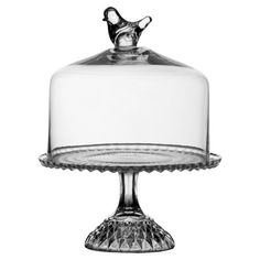 Cake plate with a bird-topped dome.    Product: Cake dome  Construction Material: Glass  Color: Clear
