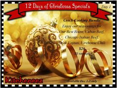 Kitcheneez is having a 12 Days of Christmas special. Each special runs three days only! So this one ends on Wednesday! Get it before it's gone!  #Food #EasyCooking #GoodFood #Crockpot