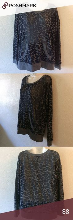 Forever 21 See through Leopard Sweater Size medium.  Black and blue gray leopard . Front pocket . See through chiffon style material . No flaws . Forever 21. Wrapped 🎁 shipped with care . Forever 21 Tops Tees - Long Sleeve