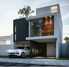 - Architecture and Home Decor - Bedroom - Bathroom - Kitchen And Living Room Interior Design Decorating Ideas - Modern Small House Design, Modern Exterior House Designs, Small House Exteriors, Small Modern Home, Modern Architecture House, Architecture Design, Townhouse Designs, Duplex House Design, House Front Design