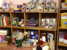These simple wood boxes can display and also store items in a school store.