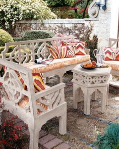 55 Awesome Morocco-Style Patio Designs : 55 Charming Morocco Style Patio Designs With White Chair Orange Red Pillow Table Stone Floor And Plant Decor With Outdoor View Outdoor Seat Cushions, Outdoor Seating, Outdoor Rooms, Outdoor Living, Outdoor Furniture Sets, Outdoor Decor, Backyard Furniture, Outdoor Areas, Outdoor Projects