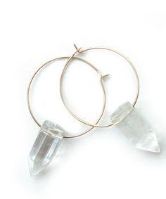 Point Hoop Earring- Quartz #shoplately