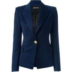 Balmain One Button Blazer in Wool ($1,890) ❤ liked on Polyvore featuring outerwear, jackets, blazers, navy, blue wool blazer, blue blazer jacket, wool jacket, wool blazer and fitted jacket