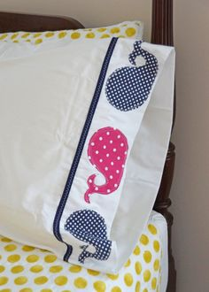 Whale of a Time Appliqued Pillowcase available on Etsy.