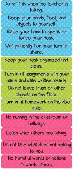 Polka Dot Classroom Rules Cards