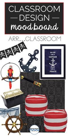 Decorating your classroom with a pirate theme? No problem! Check out all the pirate classroom ideas on this fun mood board! Classroom Design, Music Classroom, Classroom Themes, Classroom Organization, Pirate Decor, Pirate Theme, First Day Of School Activities, Pirate Day, School Themes