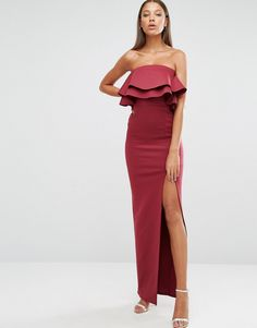 Image 4 of ASOS TALL Ruffle Scuba Maxi Dress