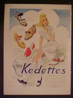 1941 Keds~KEDETTES Shoes Women Vintage Fashion Strap Moccasin~Saddle Oxford Ad in Other | eBay