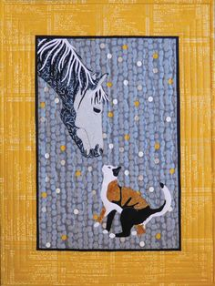 Applique Wall Quilt Patterns - Stitch up this lovely wall hanging where the family cat and horse become friends! This design features raw-edge and fused applique. Finished size: x Applique Wall Hanging, Hanging Quilts, Quilted Wall Hangings, Turtle Quilt, Watercolor Quilt, Elephant Quilt, Annie's Crochet, Easy Quilt Patterns, Animal Quilts