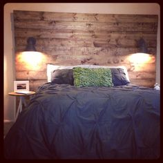 Diy Headboards With Lights with reclaimed wood headboard wall lamp | for the home | pinterest