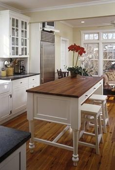 White with butcher block