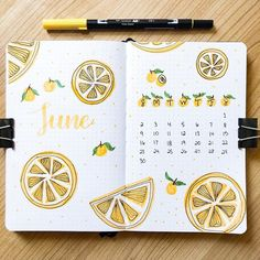 Bullet Journal Cover Page June A wonderful inspiration for a Lemon design for the summer months in your bullet Journal Bullet Journal School, Doodle Bullet Journal, Daily Bullet Journal, Bullet Journal Headers, Bullet Journal Banner, Bullet Journal Cover Page, Bullet Journal Writing, Bullet Journal Aesthetic, Bullet Journal Ideas Pages