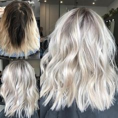 Bouncy Waves - 40 Ash Blonde Hair Looks You'll Swoon Over - The Trending Hairstyle Brown Blonde Hair, Platinum Blonde Hair, Platinum Blonde Highlights, Ice Blonde, White Highlights, Hair Color And Cut, Hair Color Dark, Blonde Color, Hair Colour