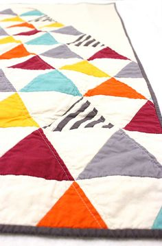 Homemade Triangle Baby Quilt / Toddler Quilt by MelissaHevey