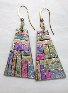 Polymer Clay Mosaic Earrings, Glitterati Collection by patibannister on Etsy